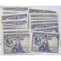 España Lote. 1928. MBC-/MBC. (Dobleces). (25 Billetes-Sin Serie-Cervantes). EDF. C6 - PIK. 69c