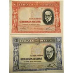 España Lote. 1935. EBC/MBC. (Planchados-Muy bonitos)-(EBC el Rojo y MBC el azul). ( Un billete anverso ROJO y otro AZUL).(Cambio