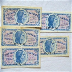 España Lote. 1937. EBC/SC-. (5 Billetes de 50 Cts.:Serie B). EDF. C42 - PIK. 93