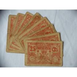 España Lote. 1937. LINARES-(J). MC+/RC-. (Roturitas). (10 Billetes de 25 Cts.-(Consejo). LGC. 824 A