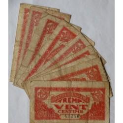 España Lote. 1937. TREMP-(L). MC/MC+. (10 Billetes de 20 Cts.:-(Consejo). TU. 3026 - LGC. 1484 D