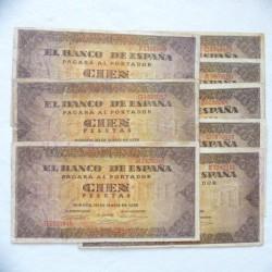 España Lote. 1938. 20 Mayo. MBC-. (Doblez.Enteros). (8 Billetes de 100 Pts..Series A,B,C,D,E,F,G,H,-Casa del Cordon). PIK. 113 -