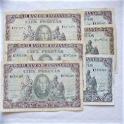 España Lote. 1940. 9 Enero. MBC-/MBC. (Doblez.Enteros). (6 Billetes de 100 Pts..Series C,D,E,F,G,H-Colon). PIK. 118 - HG. 486