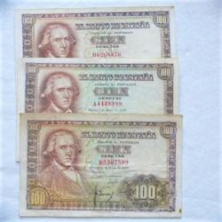 España Lote. 1948. 9 Enero. MBC-/MBC. (Doblez.Enteros). (3 Billetes de 100 Pts.. Series A, B y D-Bayeu). PIK. 137 - HG. 489 a