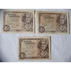 España Lote. 1948. MBC-/MBC. (Doblez). (3 Billetes de 1 Pts. Series. A,D y N - Dama.de Elche. EDF. D58 a - PIK. 135a