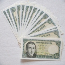 España Lote. 1951. SC. (17 Billetes de 5 Pts..Serie L-Balmes). PIK. 140 - EDF. D60a