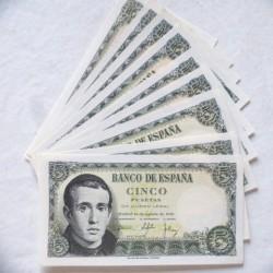 España Lote. 1951. SC. (9 Billetes de 5 Pts. Serie 1K-Balmes). PIK. 140 - EDF. D60a