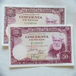 España Lote. 1951. MBC/EBC. (Doblez.Enteros.Su Apresto). (2 Billetes de 50 Pts. Series B y C-Rusiñol). PIK. 141 - HG. 483