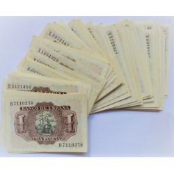 España Lote. 1953. EBC+/SC. (Nuevos.Alguno con insig.marquitas). (95 Billetes de 1 Pts.Series:C,C,E,F,G,H,I,L,M,N,P,S,T,U,X,Y,Z
