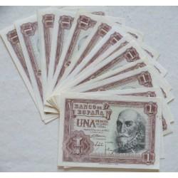 España Lote. 1953. SC. (13 Billetes de 1 Pts..Series:1A, G,1G,I,K,L,N,P,Q,T,X,Y y Z-Maques de Sta. Cruz). EDF. D66 a - PIK. 144a