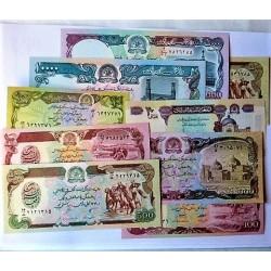 Afghanistan LOTE. 1979. SC. (Pik:55, 58a, 58c, 60b, 60c, 61c, 62, 63, 68). (9 Billetes.De 10 a 10.000 Afghaní). PIK. 55 a 68