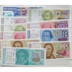 Argentina LOTE. 1979. SC. (Pik:323b, 324a, 324b, 322c, 325b, 327b, 327c, 328a, 328b, 329d). (10 Billetes.De 1 a 1.000 Austral).