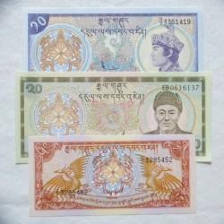 Bhutan LOTE. 1985. SC. (3 billetes de 5, 10 y 20 Ngultrums). PIK. 14, 15a, 16b.