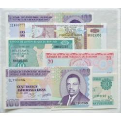 Burundi LOTE. 1991. SC. (6 Billetes. De 10 a 100 Fr.). PIK. 27c / 37