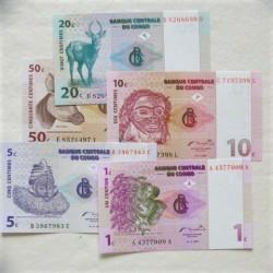 Congo.-Rep.Dem.- LOTE. 1997. SC. (5 Billetes. De 1 a 50 Cts). PIK. 80a / 84a