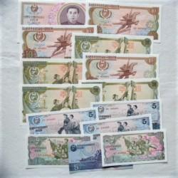 Corea del Norte LOTE. 1978. SC. (14 Billetes. De 1 a 100 Won.). PIK. 18a / 22a