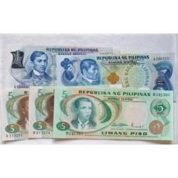 Filipinas LOTE. 1969. SC. (Pik:142a, 152a, 143b, 143a, 148a). (5 Billetes. De 1 Piso+2 Piso(2) +5 Piso (3)). PIK. 142a / 152a
