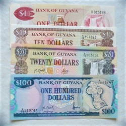 Guyana LOTE. 1966. SC. (Pik:21d 23f, 27, 31). (4 Billetes. De 1+10+20+100 Dolar). PIK. 21d / 31