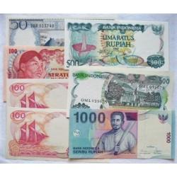 Indonesia LOTE. 1969. SC. (Pik:96, 108a, 127f, 127g, 121, 141). (7 Billetes: 50 Rupia+100(3) Rupia+500(2)+1000 Rupia). PIK. 96 /