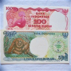 Indonesia LOTE. 1984. SC. (2 Billetes de 100 y 500 Rupias). PIK. 122 y 128a