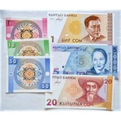 Kyrgyzstan LOTE. 1993. SC. (Pik:1, 2, 3, 7, 10, 13). (6 Billetes:De 1 Tyiyn a 20 Som). PIK. 1 a 13