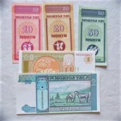 Mongolia LOTE. 1993. SC. (5 Billetes:1+10+10+20+50 Mongo+1+10 Tugrik). PIK. 49 a 52 y 54
