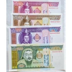 Mongolia LOTE. 1993. SC. (4 Billetes:20+50+100+500 Tugrik). PIK. 55 a 58