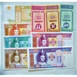 Mongolia LOTE. 1993. (s/f). SC. (9 Billetes de 10 Mongo a 100 Tugrik). PIK. 49 a 57