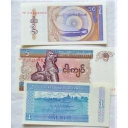 Myanmar-(Burma) LOTE. 1994. SC. (3 Billetes: 50 Pyas,+1 y 5 Kyats). PIK. 68,69 y 70