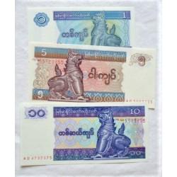 Myanmar-(Burma) LOTE. 1996. SC. (3 Billetes:1+5+10 Kyat). PIK. 69/70/71b