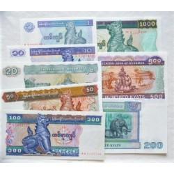 Myanmar-(Burma) LOTE. 1996. (s/f). SC. (8 Billetes: de 1 a 1000 Kyats)-(8 Billetes). PIK. 69 a 77 b