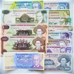 Nicaragua LOTE. 1972. SC. (Pik:173,121a,151,182,140,141a,155,145a,160,149,162,164,166). (13 Billetes.De 1 a 10.000.000 Cordobas