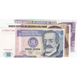 Peru LOTE. 1987. SC. (3 Billertes: 10+500+5000 Intis). PIK. 129,134 y 137