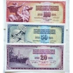 Yugoslavia LOTE. 1974. SC. (3 billetes). PIK. 85, 89, 90 c