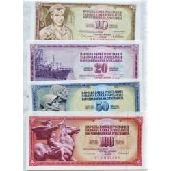 Yugoslavia LOTE. 1978. SC. (4 Billetes: 10+20+50+100 Dinara). PIK. 87 a 90