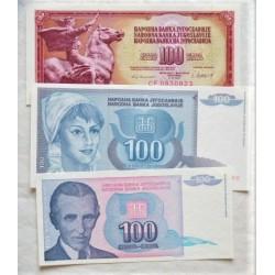 Yugoslavia LOTE. 1981. SC. (Años: 1981, 92 y 94). (3 Billetes de 100 Dinatra). PIK. 90, 112 y 139