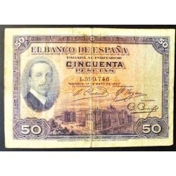 España 17-Mayo. . 50 Ptas. 1927. RC-/RC. (Doblez.Roturita). (Sin Serie-Alfonso XIII). PIK. 72 - EDF. B110