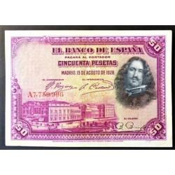 España 50 Ptas. 1928. EBC+. (Doblez y maquitas margen). (Serie A-Velazquez). EDF. B113a - PIK. 75a. (Puesto en circulación dur