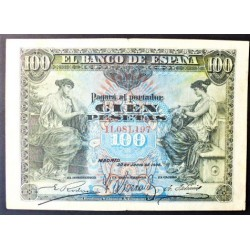 España 100 Ptas. 1906. 30 Junio. MBC/MBC+. (Doblez). (Sin Serie). EDF. B97 - PIK. 59a