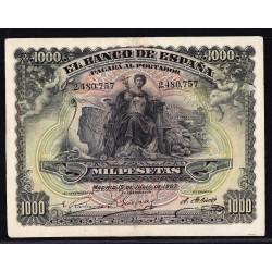 España 1000 Ptas. 1907. 15 Julio. MBC+. (Doblez.Planchado.Muy Bonito). (Sin Sersie-Alegoria y Palacio Real). EDF. B106 - PIK.