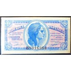 España 50 Cts. 1937. SC. (Serie B)-(PAQUETE con 100 Billetes)-(89 y 11 Correlativos). EDF. C42 - HG. 416. (Correlativos desde
