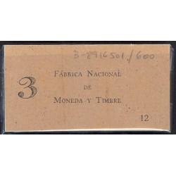 España 50 Cts. 1937. SC. (Serie B)-(PAQUETE con 100 Billetes Correlativos). EDF. C42 - HG. 416. (Con tapa original de la FNMT)