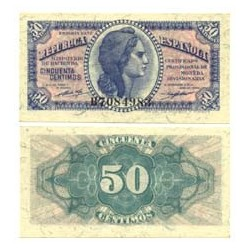 España 50 Cts. 1937. SC. (Nuevo con levisima marca de clip). (Serie B). EDF. C42 - PIK. 416