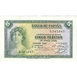 España 5 Ptas. 1935. SC. (Sin Serie). PIK. 85 - EDF. C14