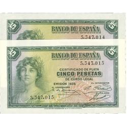 España 5 Ptas. 1935. SC. (Insig.marquita en margen). (Sin Serie-PAREJA correlativa). ESCASO/A. PIK. 85 - EDF. C14. (Numeración