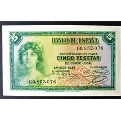 España 5 Ptas. 1935. SC. (Serie G). PIK. 85 - EDF. C14. (Esta Serie G no fué puesta en circulación)