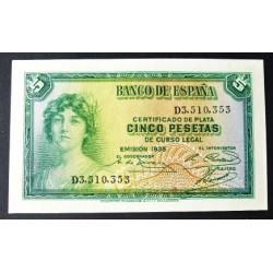 España 5 Ptas. 1935. SC. (Serie D). PIK. 85 - EDF. C14