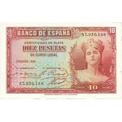 España 10 Ptas. 1935. SC. (Nuevo con lev.marquita en esquina). (Serie A). EDF. C15 a - PIK. 86a