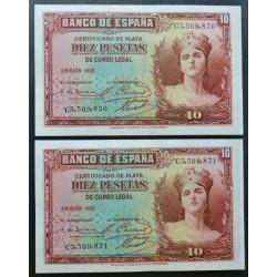 España 10 Ptas. 1935. SC. (Serie C-PAREJA Correlativa). PIK. 86a - EDF. C15