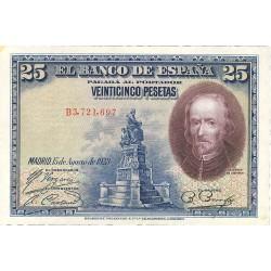 España 25 Ptas. 1928. EBC+. (Nuevo con doblez). (Serie B-Calderon). EDF. C4 - PIK. 74b